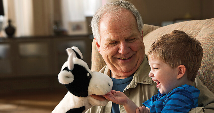 Retired man playing with cow puppet and grandson